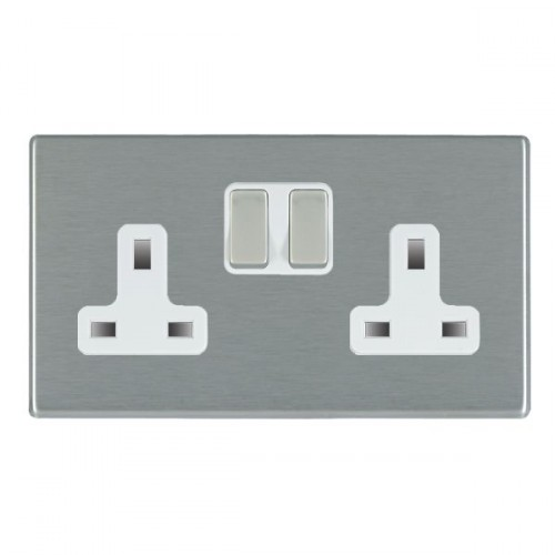 Hartland CFX Bright Chrome 2 Gang 13A Switched Socket - Double Pole