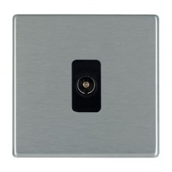 Hamilton Hartland CFX Satin Steel 1 Gang Non Isolated Television 1in/1out with Black Insert