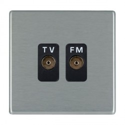 Hamilton Hartland CFX Satin Steel 2 Gang Isolated Television/FM 1in/2out with Black Insert