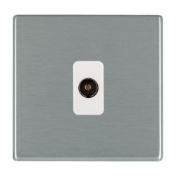 Hamilton Hartland CFX Satin Steel 1 Gang Non Isolated Television 1in/1out with White Insert