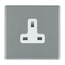 Hamilton Hartland CFX Satin Steel 1 Gang 13A Unswitched Socket with White Insert