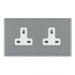 Hamilton Hartland CFX Satin Steel 2 Gang 13A Unswitched Socket with White Insert