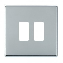 Hamilton Hartland CFX Grid Bright Chrome 2 Gang Concealed Fix Grid Fix Aperture Plate with Grid