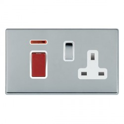 Hamilton Hartland CFX Bright Chrome 1 Gang Double Pole 45A Red Rocker + 13A Switched Socket with White Insert