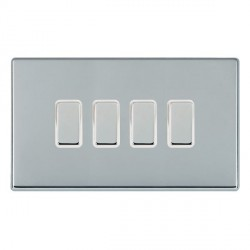Hamilton Hartland CFX Bright Chrome 4 Gang Multi way Touch Master Trailing Edge with White Insert