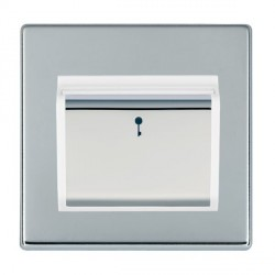 Hamilton Hartland CFX Bright Chrome 1 Gang On/Off 10A Card Switch with Blue LED Locator with White Insert