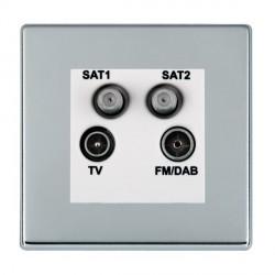 Hamilton Hartland Bright Chrome TV+FM+SAT+SAT (DAB Compatible) with White Insert