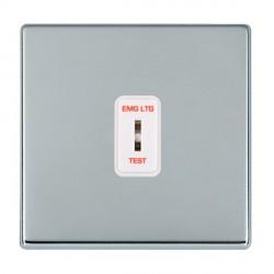 Hamilton Hartland CFX Bright Chrome 1 Gang 2 Way Key Switch 'EMG LTG TEST' with White Insert