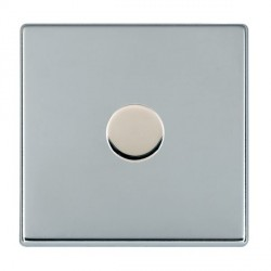 Hamilton Hartland CFX Bright Chrome Push On/Off Dimmer 1 Gang 2 way Inductive 200VA with Bright Chrome Insert