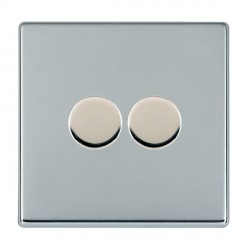 Hamilton Hartland CFX Bright Chrome Push On/Off Dimmer 2 Gang Multi-way 250W/VA Trailing Edge with Bright Chrome Insert