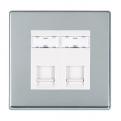 Hamilton Hartland CFX Bright Chrome 2 Gang RJ12 Outlet Unshielded with White Insert