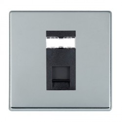 Hamilton Hartland CFX Bright Chrome 1 Gang RJ45 Outlet Cat 5e Unshielded with Black Insert