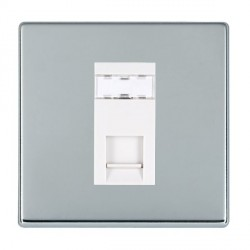 Hamilton Hartland CFX Bright Chrome 1 Gang RJ45 Outlet Cat 5e Unshielded with White Insert