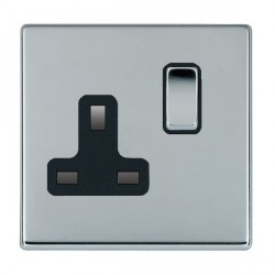 Hamilton Hartland CFX Bright Chrome 1 Gang 13A Switched Socket - Double Pole with Black Insert