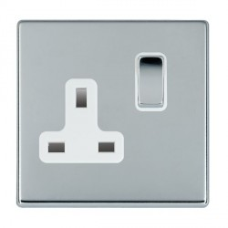 Hamilton Hartland CFX Bright Chrome 1 Gang 13A Switched Socket - Double Pole with White Insert