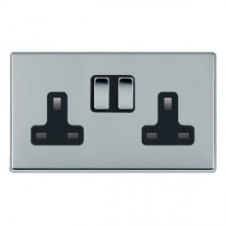 Hamilton Hartland CFX Bright Chrome 2 Gang 13A Switched Socket - Double Pole with Black Insert