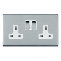 Hamilton Hartland CFX Bright Chrome 2 Gang 13A Switched Socket - Double Pole with White Insert