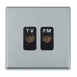 Hamilton Hartland CFX Bright Chrome 2 Gang Isolated Television/FM 1in/2out with Black Insert