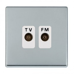 Hamilton Hartland CFX Bright Chrome 2 Gang Isolated Television/FM 1in/2out with White Insert