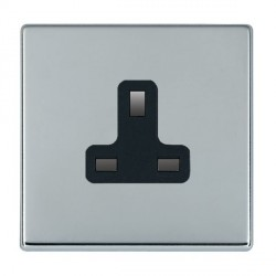 Hamilton Hartland CFX Bright Chrome 1 Gang 13A Unswitched Socket with Black Insert