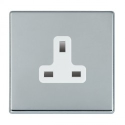 Hamilton Hartland CFX Bright Chrome 1 Gang 13A Unswitched Socket with White Insert
