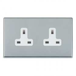 Hamilton Hartland CFX Bright Chrome 2 Gang 13A Unswitched Socket with White Insert