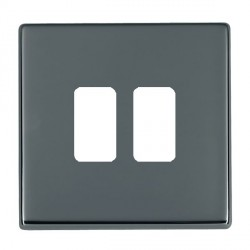 Hamilton Hartland CFX Grid Black Nickel 2 Gang Concealed Fix Grid Fix Aperture Plate with Grid
