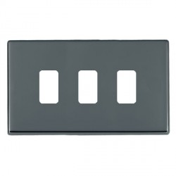 Hamilton Hartland CFX Grid Black Nickel 3 Gang Concealed Fix Grid Fix Aperture Plate with Grid