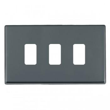 Hamilton Hartland CFX Grid Black Nickel 3 Gang Concealed Fix Grid Fix Aperture Plate with Grid