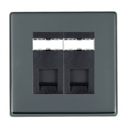 Hamilton Hartland CFX Black Nickel 2 Gang RJ45 Outlet Cat 5e Unshielded with Black Insert