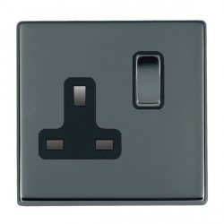 Hamilton Hartland CFX Black Nickel 1 Gang 13A Switched Socket - Double Pole with Black Insert