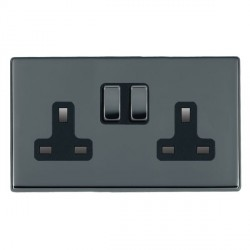 Hamilton Hartland CFX Black Nickel 2 Gang 13A Switched Socket - Double Pole with Black Insert