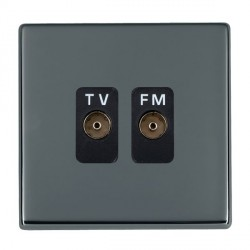 Hamilton Hartland CFX Black Nickel 2 Gang Isolated Television/FM 1in/2out with Black Insert