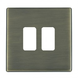 Hamilton Hartland CFX Grid Antique Brass 2 Gang Concealed Fix Grid Fix Aperture Plate with Grid