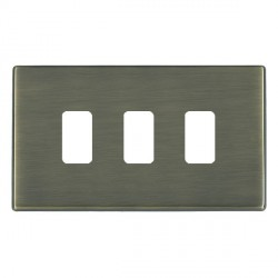 Hamilton Hartland CFX Grid Antique Brass 3 Gang Concealed Fix Grid Fix Aperture Plate with Grid