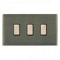 Hamilton Hartland CFX Antique Brass 3 Gang Multi way Touch Slave Trailing Edge with Black Insert