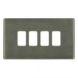 Hamilton Hartland CFX Grid Antique Brass 4 Gang Concealed Fix Grid Fix Aperture Plate with Grid