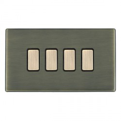 Hamilton Hartland CFX Antique Brass 4 Gang Multi way Touch Slave Trailing Edge with Black Insert