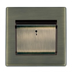 Hamilton Hartland CFX Antique Brass 1 Gang On/Off 10A Card Switch with Blue LED Locator with Black Insert