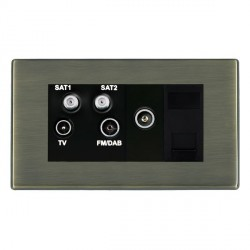 Hamilton Hartland Antique Brass TV+FM+SAT+SAT (DAB Compatible)+TV+TCS (DAB Compatible) with Black Insert
