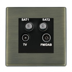 Hamilton Hartland Antique Brass TV+FM+SAT+SAT (DAB Compatible) with Black Insert