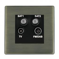 Hamilton Hartland Antique Brass TV+FM+SAT+SAT (DAB Compatible) with Black Insert