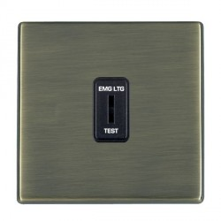 Hamilton Hartland CFX Antique Brass 1 Gang 2 Way Key Switch 'EMG LTG TEST' with Black Insert