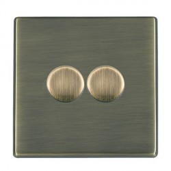 Hamilton Hartland CFX Antique Brass Push On/Off Dimmer 2 Gang Multi-way 250W/VA Trailing Edge with Antique Brass Insert