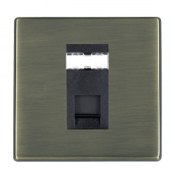 Hamilton Hartland CFX Antique Brass 1 Gang RJ12 Outlet Unshielded with Black Insert