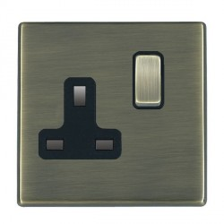 Hamilton Hartland CFX Antique Brass 1 Gang 13A Switched Socket - Double Pole with Black Insert