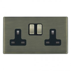 Hamilton Hartland CFX Antique Brass 2 Gang 13A Switched Socket - Double Pole with Black Insert