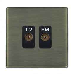 Hamilton Hartland CFX Antique Brass 2 Gang Isolated Television/FM 1in/2out with Black Insert