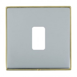 Hamilton Linea-Duo CFX Polished Brass/Bright Steel 1 Gang Grid Fix Aperture Plate with Grid