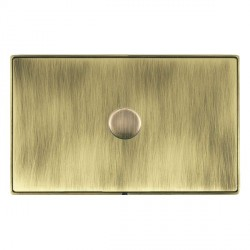 Hamilton Linea-Duo CFX Antique Brass/Antique Brass Push On/Off Dimmer 1 Gang 2 way 1000W with Antique Bra...